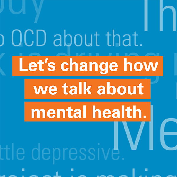 "Leadhership presentation image with text that reads, ""Let's change how we talk about mental health."""