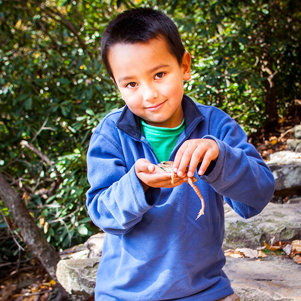 Boy playing with a frog.