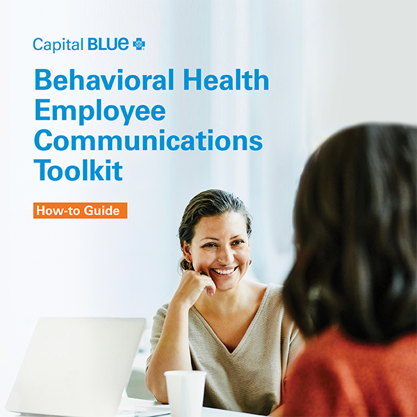 "Woman smiling with text that reads, ""Behavioral health employee communications toolkit"""