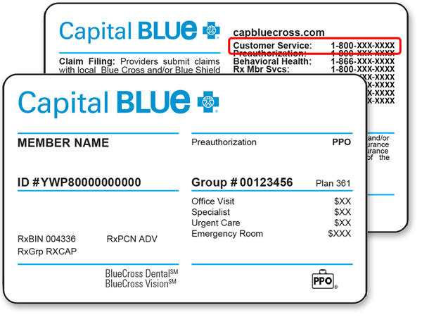 Tarjeta de identificación de Capital BlueCross