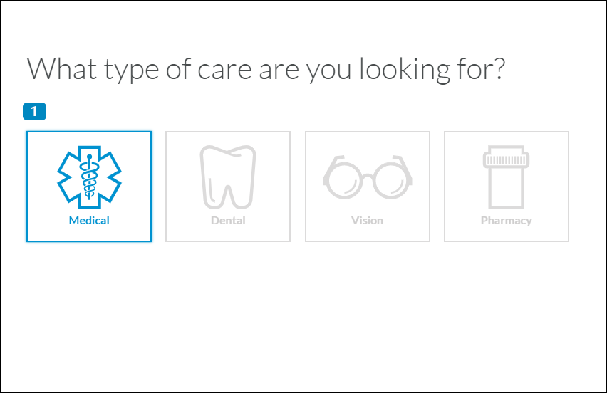 Provider finder care selection page